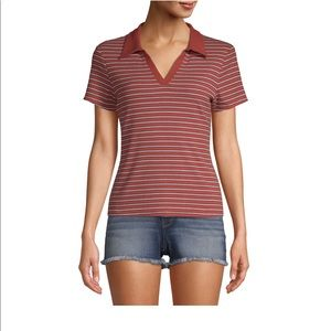 NWT juniors no boundaries red striped collared top